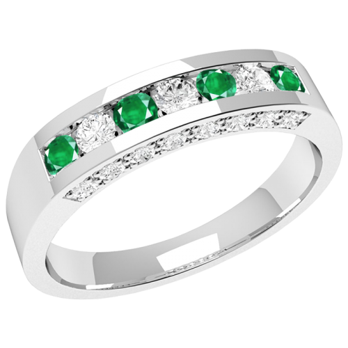 A luxurious emerald & diamond eternity ring in 18ct white gold