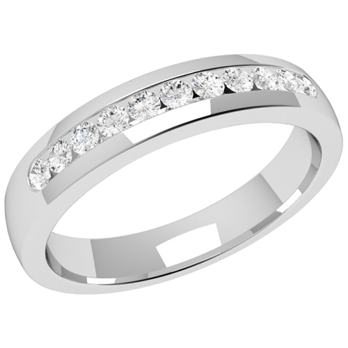 An elegant Round brilliant Cut diamond set ladies wedding ring in palladium