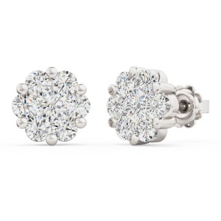 A striking pair of Round Brilliant Cut diamond Cluster earrings in 18ct white gold